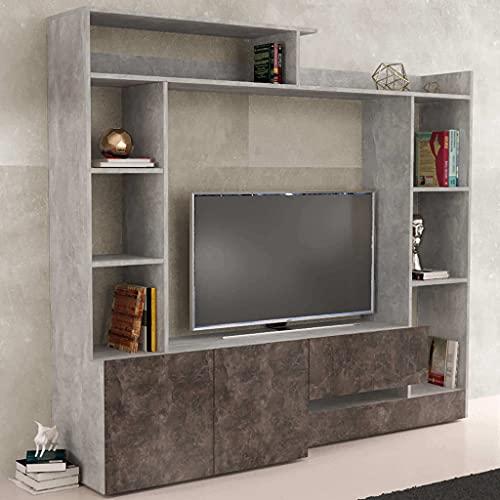 Milani Home s.r.l.s. Parete attrezzata Porta TV Soggiorno Moderna di Design 180 x 28/40 x 165 h