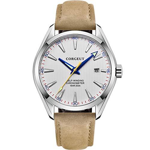 Herren-Automatikuhr, Lederarmband wasserdichte mechanische Armbanduhr mit Datum, Saphirglas, japanisches Uhrwerk