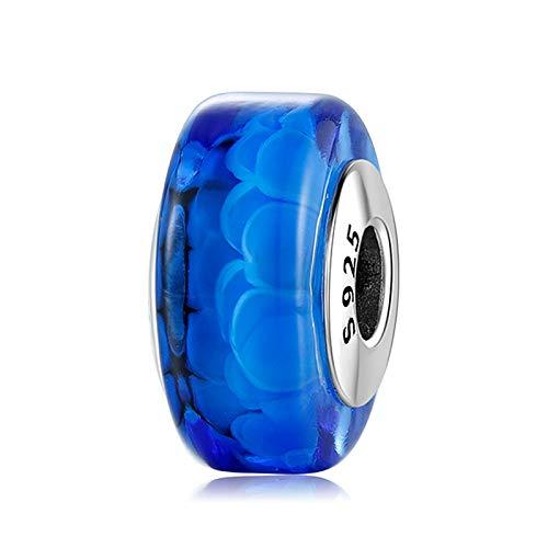 DFHTR Cuentas Espaciadoras De Plata De Ley 925, Forma Cilíndrica, Cuentas De Cristal De Murano Azul Marino, Se Ajustan A Los Encantos Europeos, Pulsera, Joyería