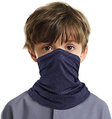 VULKIT Polaina de cuello para niños con protección UV UPF para la cara, bandana para niños y niñas, al aire libre, ciclismo, correr, deportes, Azul / Patchwork, Talla única