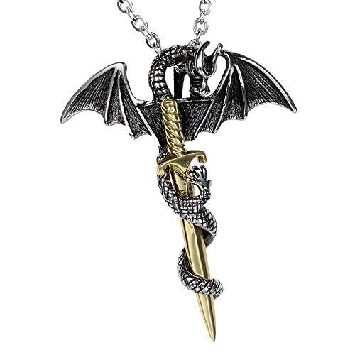 NC520 Collar con Colgante de Espada de dragón Vintage, Colgante de Acero de Titanio, joyería de Espada de dragón de Moda Coreana Retro para Hombre, Biliss