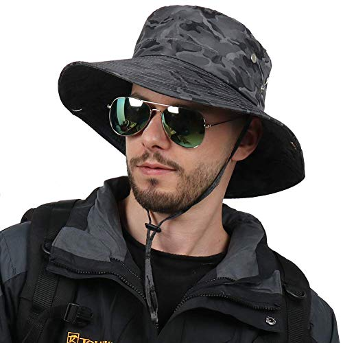CAMOLAND Camouflage Outdoor Fishing Boonie Hat with Wide Brim UV Protection Summer Safari Sling...