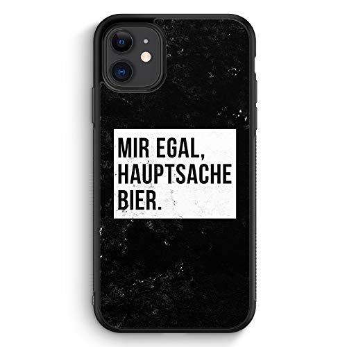 Mir Egal Hauptsache Bier - Silikon Hülle für iPhone 11 - Motiv Design Cool Witzig Lustig Spruch Zitat Grunge - Cover Handyhülle Schutzhülle Hülle Schale