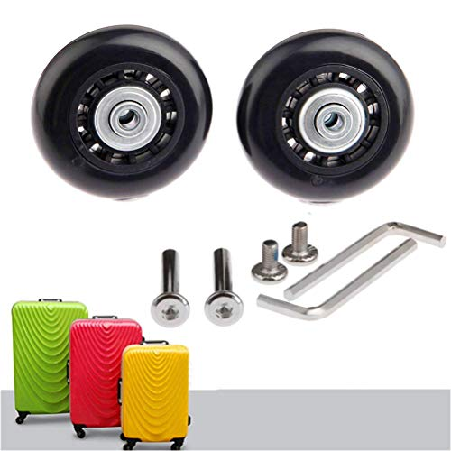 EAHOME Luggage Suitcase Wheels, 2 Piece Black Replacement Wheels Outer Diameter 60mm with Axles Wrench Bearings Repair Kit