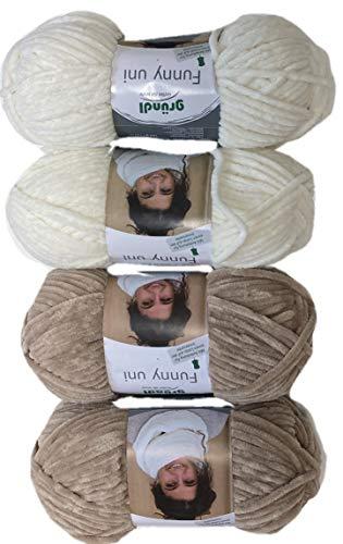 12fadenline Gründl Funny Wolle für eine gemusterte Babydecke (4x100 Gramm) Inclusive Anleitung für die Babydecke (Beige-Creme)