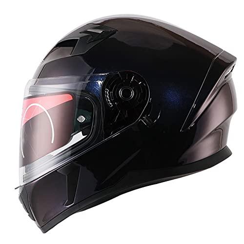 BDTOT Casco de Motocicleta Integral con Antirreflejo Doble Lente Reducción de Ruido Carcasa de ABS con Doble Visera Anti-rasguños y Protección Rayos UV para Montar Al Aire Libre Apto