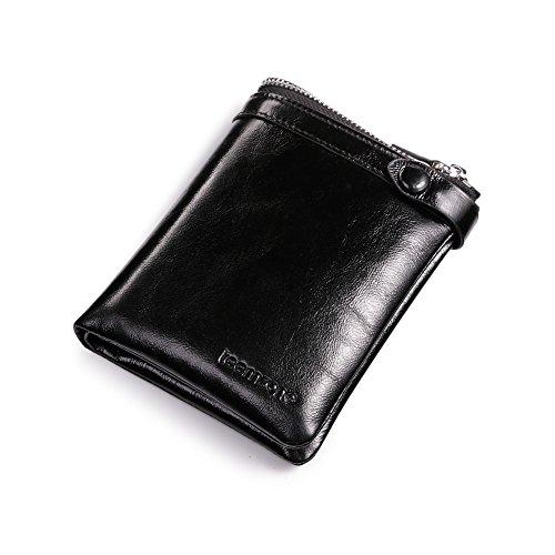 Teemzone Uomo Portafoglio Pelle Carta Porta Portamonete Classico con Cerniera Lampo Borsa Marrone / Nero (Nero)