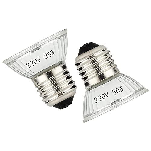 Chaleur et lumière pour reptiles et réservoirs d'amphibiens avec ampoules et interrupteur, réglable et pivotant à 360 °, ampoules UVB 25W / 50W / E27 UVA. (Blanc)