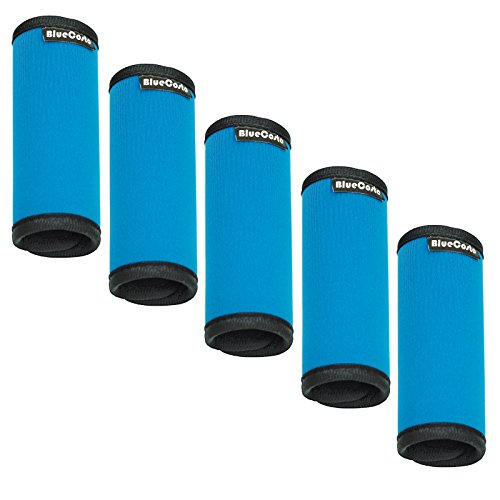 BlueCosto (Blue, 5-Pack) Soft Neoprene Luggage Handle Wrap Grips Suitcase Tag Travel Label 700036-BLU