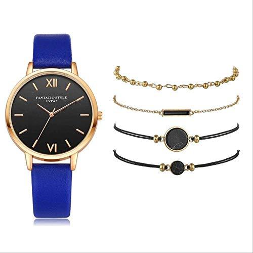 Conjunto De 5 Piezas De Moda para Mujer, Banda De Cuero, Reloj De Pulsera De Cuarzo Analógico, Reloj para Mujer, Vestido para Mujer, Reloj Negro Conjunto Azul de 5 Piezas