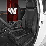 Motor Trend MTSC-9210-GR LuxeFit Gray Faux Leather Car Seat Cover for Front Seats, 1 Piece – Padded Universal Fit Luxury Cover, Faux Leather Sideless Protector for Car Truck Van & SUV