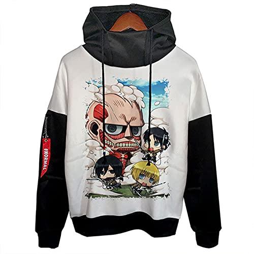 LXLX Sudadera con capucha Attack on Titan con capucha, diseño de anime de Japón, para adolescentes, unisex, moda, ocio, ataque a Titan 13-2XL