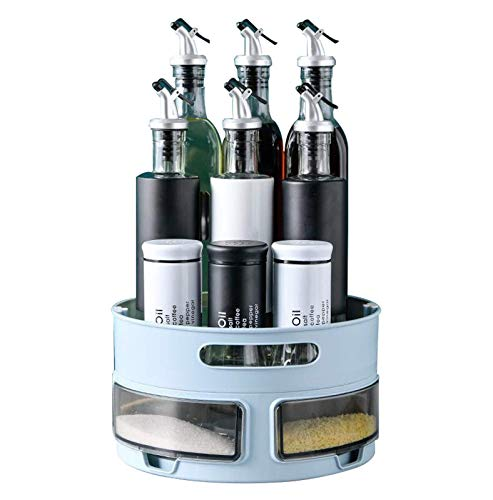 PracticalSpice Rack giratorio multifuncional giratorio Especiero Organizador de estante ajustable Estante para mostrador Estante de almacenamiento para cocina Hogar Baño Estante para cosméticos Almac