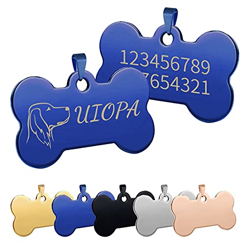 Uiopa Chapa Perro Grabada, Hueso para Mascotas Placa Perro Grabada, Placa Chapa Medalla de Identificación Personalizada Placas para Perros Grabadas Para Collar Perro Gato Mascota (Azul, Grande)