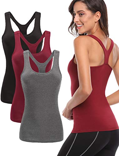 TELALEO Workout Tank Tops for Women, Womens Racerback Workout Clothes for Women Yoga Basic Running Gym Black/Red/Gray S