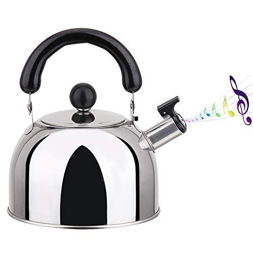 Tetera silbante en estufa, apta para cocina de induccion de gas, acero inoxidable, plata, 2L/3L/4L (2?)