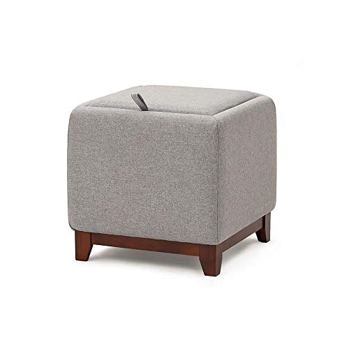 YILIAN Gray Footstool, Household Fabric Sofa Stool, Shoe-changing Children's Furniture Footstool, Solid Wood Storage Stool