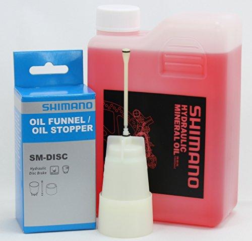 SHIMANO Mineralöl Set für Scheibenbremsen Öl 1000 ml / 1L inkl. Öl Trichter Stopper
