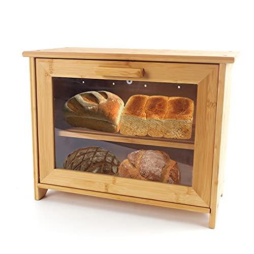 Bamboo Bread Bin, Two-Layer Bread Box, Bread Storage for Kitchen Counter, Baked Goods, Home-Made Bread, Rolls, Pastries