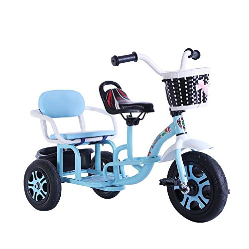 GY Children's Tricycle Children's Tricycle Tandem Bicycle Baby Double Seat Infant Stroller Can Carry People for 2 3 4 Years Old and Up Boys Girls Tricycle Kids (Color : Blue)