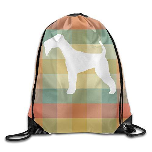 Airedale Terrier Vintage Silhouette Unisex Outdoor Rucksack Umhängetasche Sport Kordelzug Rucksack Tasche