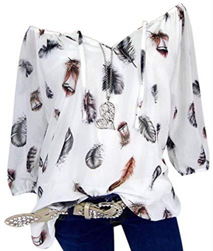 Bluse Damen Herbst Shirt Reizvoller Übergröße Half Ärmel Federdruck V-Ausschnitt Sweatshirt Langarmshirt Tops Oberteil Hemd T-Shirts Tunika(S-5XL)