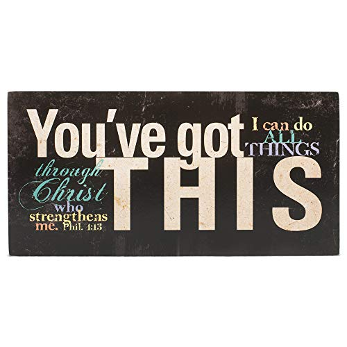 WenNuNa You've Got This Philippians 4:13 Distressed Black 5 x 10 Wood Table Top Sign Plaque
