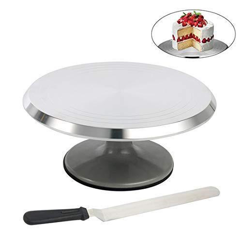 YaeTek 12' Platform Extremely Smooth Rotating Cake Stand Revolving Cake Turntable with Bonus Icing Spatula