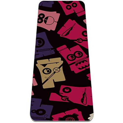 Eslifey Esterilla de yoga con patrón colorido antideslizante para mujeres y niñas, tapete de ejercicio suave de pilates (72 x 24 pulgadas, 1/4 pulgadas de grosor)