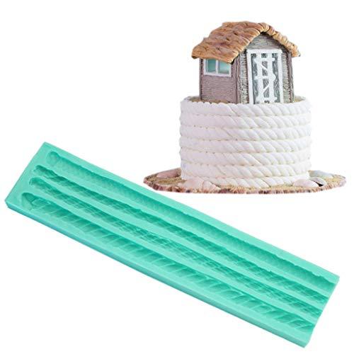 GREEN&RARE Molde para fondant de tartas, cuerda de punto 3D de silicona, perla, moldura de pasta frita, fondant, moldes de decoración para glaseado de azúcar, herramientas de pasta de goma