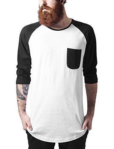 Urban Classics Herren Long Raglan 3/4 Sleeve Pocket Tee T-Shirt, Mehrfarbig (wht/blk 224), Small