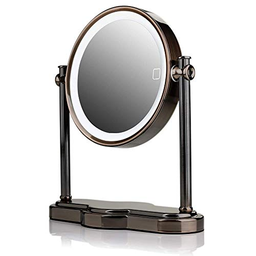 Ovente Lighted Table Top Makeup Mirror 8 Inch 1X 10X Magnifying 360° Double Sided Smart Touch 3 Tone LED Auto Shut Off Timer Battery USB Adapter Operated Desk Circle Large Antique Brass MHT80AB1X10X