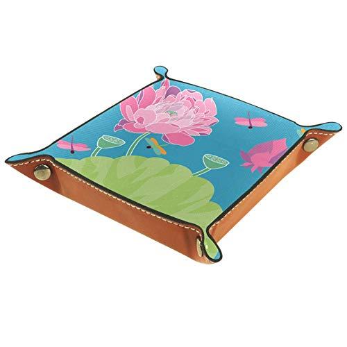 Eslifey Libelle Sommer Lotus Organizer Tablett Aufbewahrungsbox Nachttisch Caddy Desktop Tablett Wechselschlüssel Geldbörse Münzfach Ablage Valet, 20,5 x 20,5 cm, Mikrofaser-Leder, multi, 16 x 16 cm