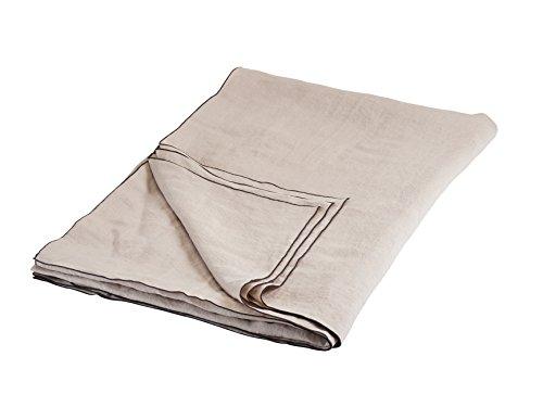BLANC CERISE Nappe Couleur Lin - 100% Lin lavé-Unie - Bourdon Anthracite 180 * 350