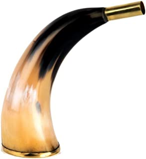 Buddha4all Sounding Bugle Horn blowing Viking Norse Medieval 9 inches Large Polished Horn Shofar with Wide Bend Natural Colors Medium Yemenite Horn Natural Finish Shofar Traditional Handcraft Horn