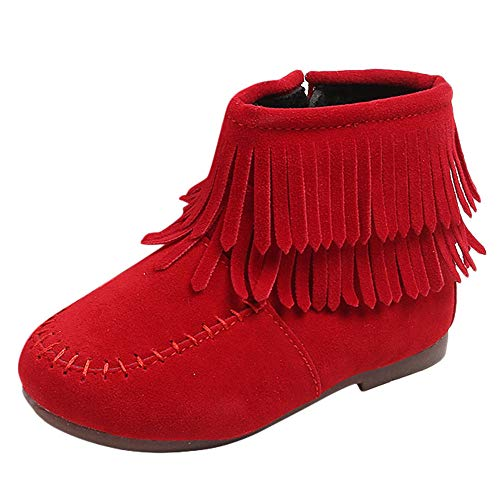1-6T Kids Toddler Baby Zipper Snow Boots Moccasins Ankle Booties Winter Double Fringe Tassel Short Boots Warm Cotton Shoes (Red,Age:18-24M / US:6)