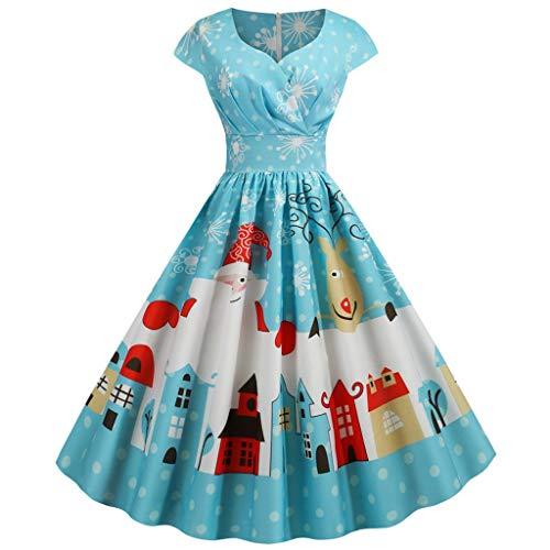 Navidad POLP Vestidos de Fiesta Mujer Tallas Grandes Manga Corta Vintage 1950 Vestido de Noche Largo Cuello en V Sin Manga Cintura Alta Ama de casa Falda Plisado Azul Disfraz