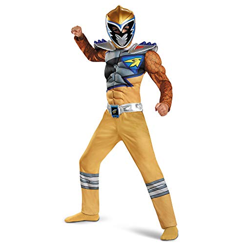 Gold Power Rangers Costume for Kids. Official Licensed Gold Ranger Dino Charge Classic Muscle Power Ranger Suit with Mask for Boys & Girls, Small (4-6)
