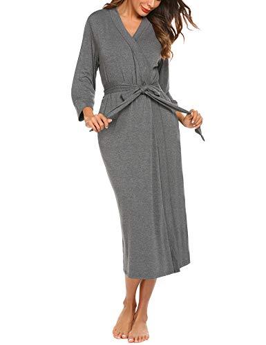 Unibelle Damen Morgenmantel Bademantel Kimono Saunamantel mit Tiefer V-Ausschnitt Nachthemd Baumwolle Tiefes Dunkelgrau L