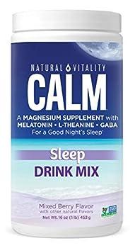 Natural Vitality Calm Sleep Magnesium Citrate with Melatonin & GABA Sleep Aid Mixed Berry Flavor Vegan Gf & Non-GMO  Package May Vary ,16oz