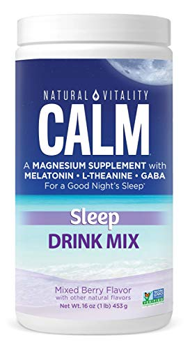 Natural Vitality Calm Sleep Magnesium Citrate with Melatonin & GABA, Sleep Aid, Mixed Berry Flavor, Vegan, Gf & Non-GMO, (Package May Vary),16oz