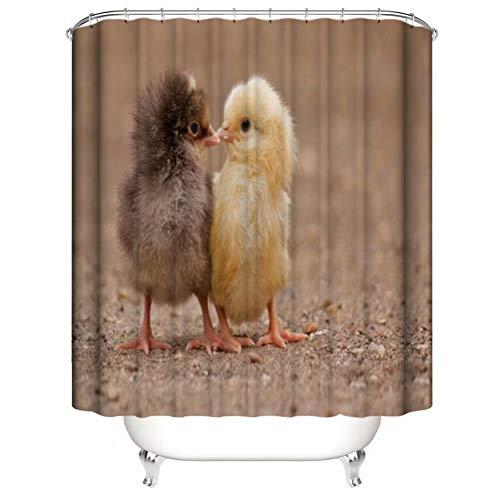 ZZZdz Süßes Kleines Huhn. Haus Dekoration. Duschvorhang: 180X180 cm. 3D Hd Druck. Wasserdicht. Einfach Zu Säubern. Badezimmerzubehör.