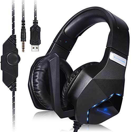 ELCTHUNDER Gaming Headset for Nintendo Switch, PS4, Xbox One Games 3.5mm Wired Gaming Headphone with LED Lights for PC Gaming Headset for Phone Gaming