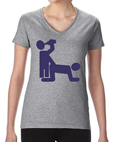 Comedy Shirts - Sex und Bier - Damen V-Neck T-Shirt - Graumeliert/Lila Gr. XL