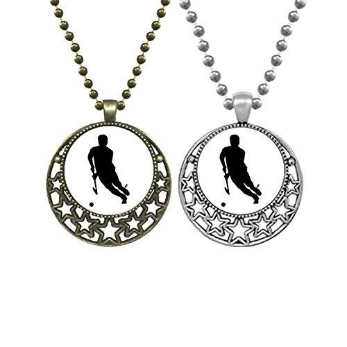 Collares colgantes de hockey con diseño de estrellas de luna y luna