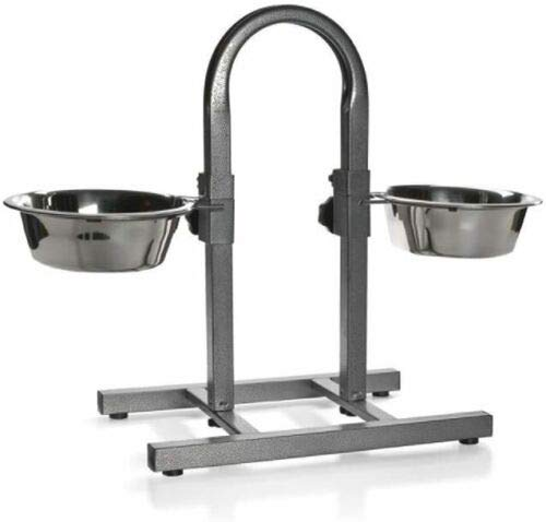 Dog Elevated Food Bowl Holder Set - Raised Cat Feeding Station Stand - Adjustable Height Pet Double Feeder - 2 Stainless Steel Water Bowls (Large (U Shape))