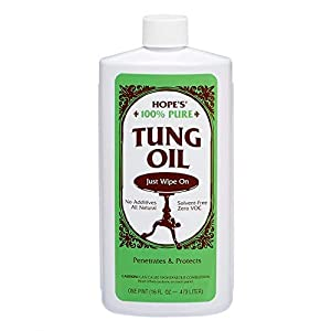 HOPE'S Pure Tung Oil, Waterproof Natural Wood Finish and Sealer, 16 Fl Oz