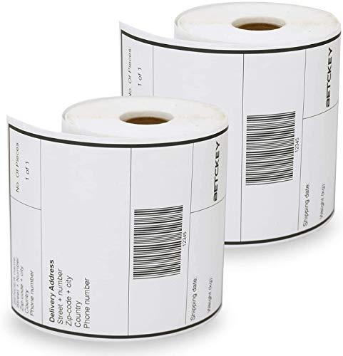 BETCKEY Etiketten kompatibel mit Dymo S0904980, 104mm x 159mm, 2 Rollen x 220 Labels Extra große Versand Etiketten, für Dymo Etiketten Drucker: 4XL