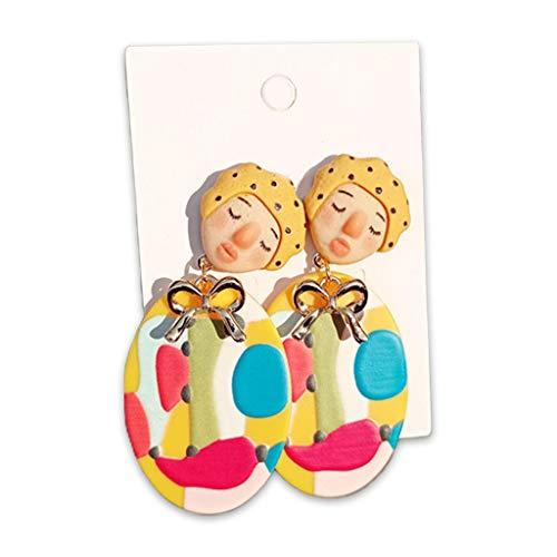 6Wcveuebuc 1 par vintage india primitiva tribal muñeca pendientes colgantes mujeres colorido acrílico oído gota joyería regalos