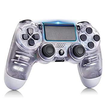 AUGEX Gamepad Compatible for PS4 Wireless Controller Work with PS4,with Double Vibration/Stereo Headset Jack/Touch Pad Control,Compatible with PS4/Slim/Pro Console  Transparent White